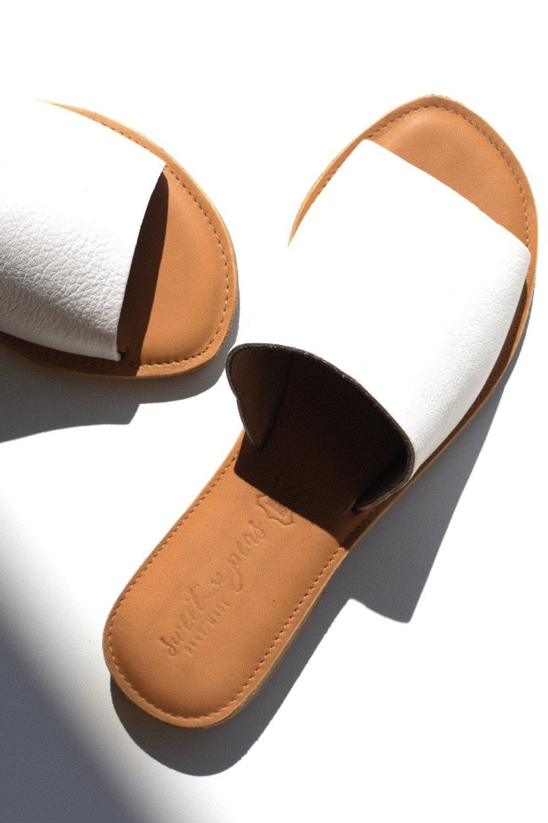 SOFIA White Leather Slider - Envy - online clothing