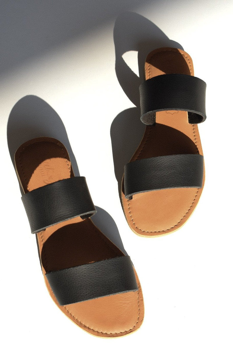 ST TROPEZ Leather Sandal - BLACK - Envy - online clothing