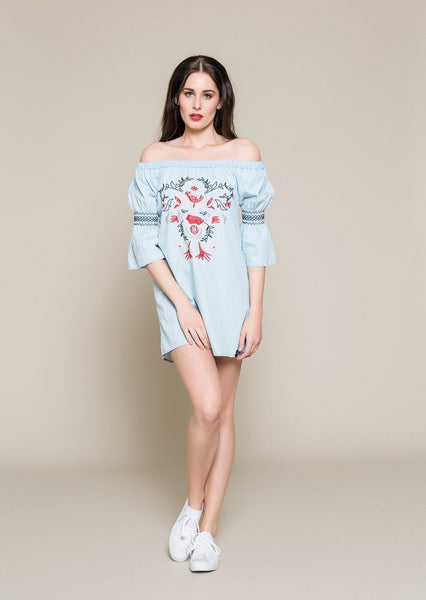 OFF THE SHOULDER EMBROIDERED TUNIC - Envy