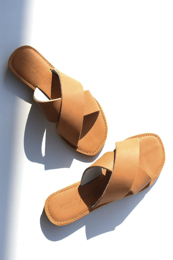 CAPRICE Leather Sandal - Tan - Envy - online clothing