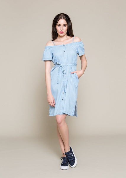 OFF THE SHOULDER DENIM DRESS - Envy