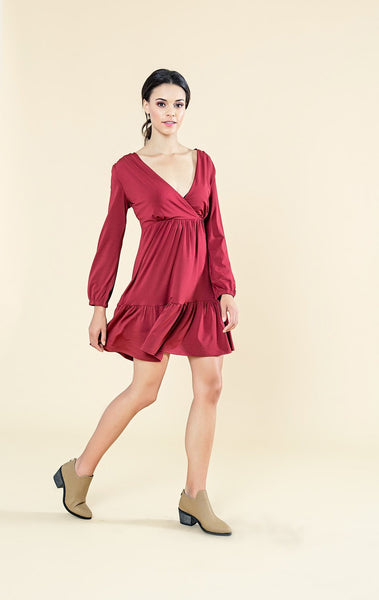 CROSS OVER DRESS WITH BELL SLEEVES - Envy online clothing store south africa
