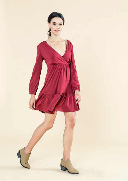 CROSS OVER DRESS WITH BELL SLEEVES - W18037-L-BURGUNDY