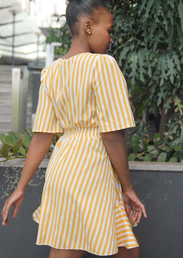 Summer Striped Dress Yellow