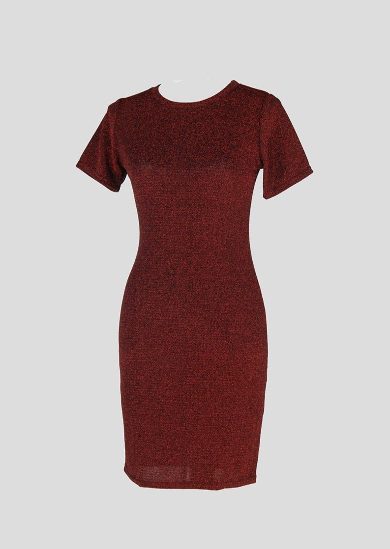 Red Metallic Fitted Dress - Envy - online clothing