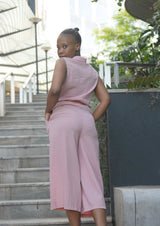 Sleeveless Shirt Jumpsuit Pink