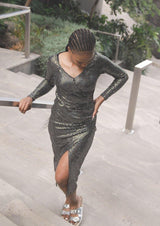 Long Sleeve Metallic Dress