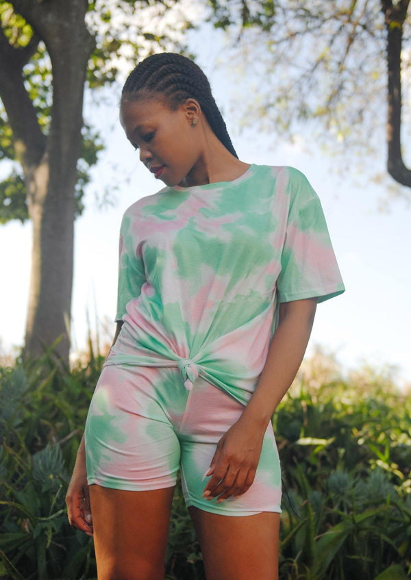 Cycle Shorts & Tee Tie Dye Set Green & Pink - Envy - online clothing