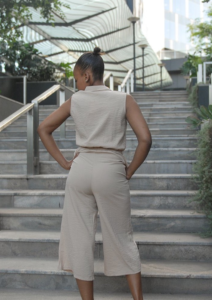 Sleeveless Shirt Jumpsuit Khaki