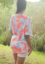 Cycle Shorts & Tee Tie Dye Set Blue & Ora - Envy - online clothing
