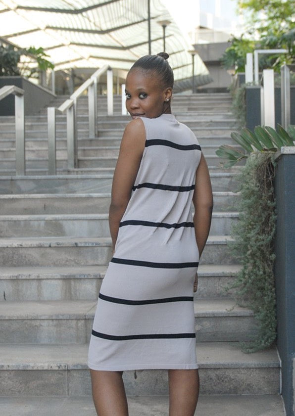 Striped Sleeveless Knit Dress