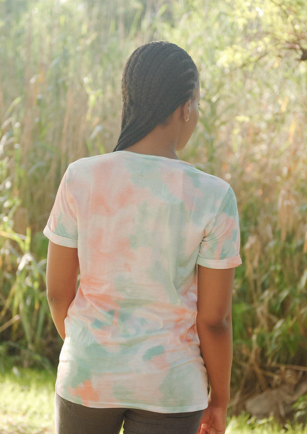 V-Neck Tie Dye Tee in Green - Envy - online clothing