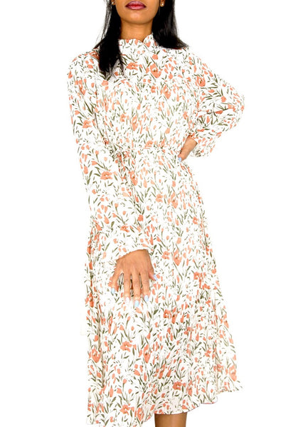 VINTAGE FLORAL DRESS WITH HIGH RISE COLLAR