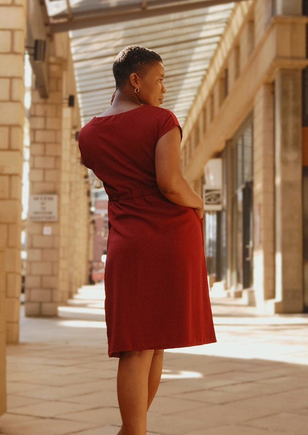T-shirt Dress with Pockets Burgundy - Envy - online clothing