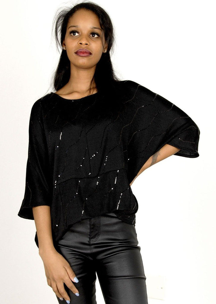 Harper Batwing Top with Metallic Accents