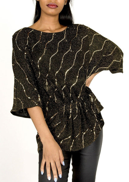 Harper Metallic Wide Sleeve Top