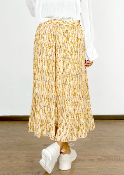 YELLOW FLORAL RPINT PLEATED SKIRT