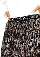 Black Floral Printed Pleated Skirt - Envy - online clothing