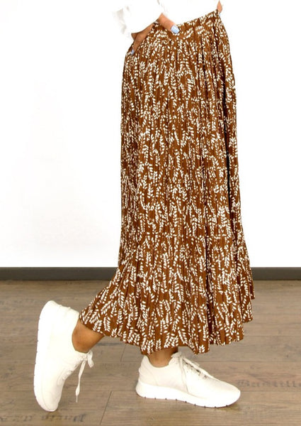 BROWN FLORAL PRINT PLEATED SKIRT