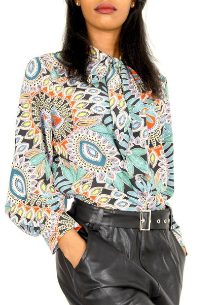 Harper Retro Print Pussy Bow Blouse - Envy online clothing store south africa