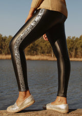 Silver Sequin Stripe Legging - Envy - online clothing