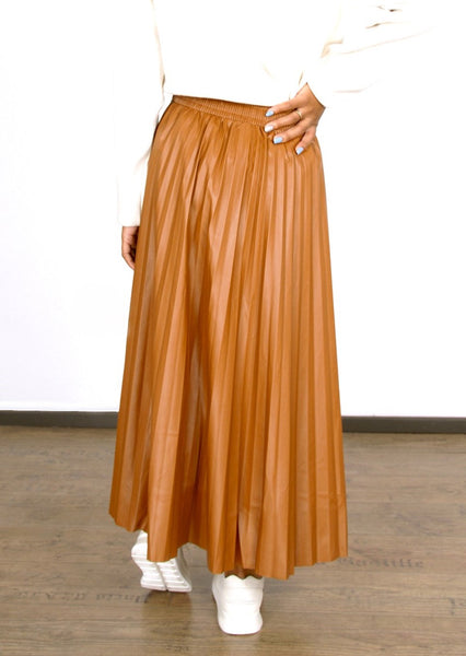 PLEATED PU LEATHER A-LINE SKIRT