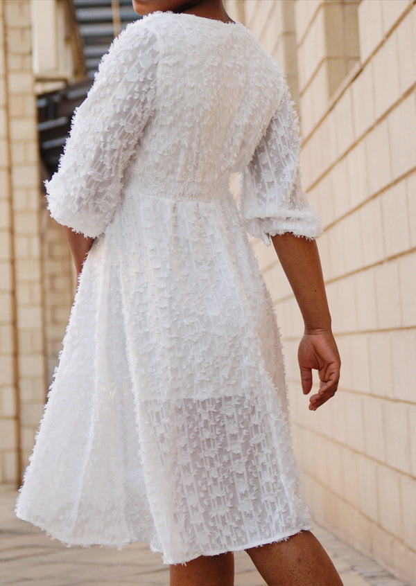 White Harper Sleeve Dress - Envy - online clothing
