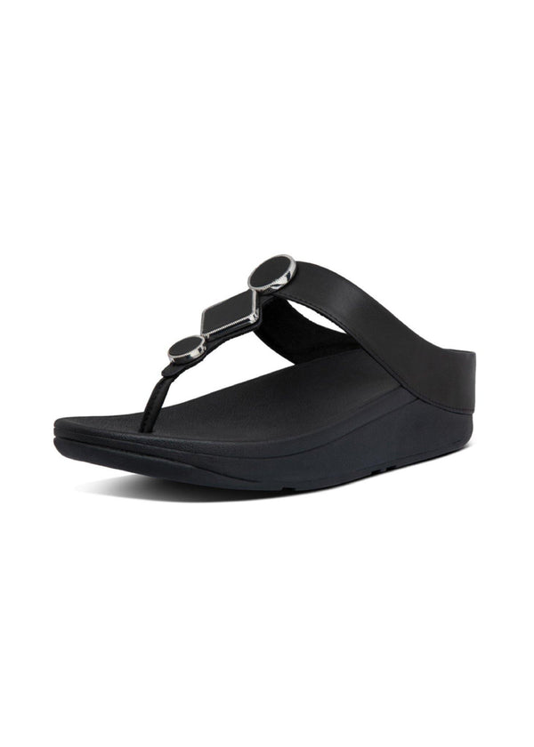 Leia Leather Toe Thongs All Black - Envy - online clothing