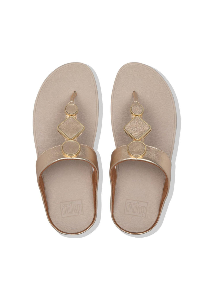 Leia Leather Toe Thongs Vintage Gold - Envy - online clothing