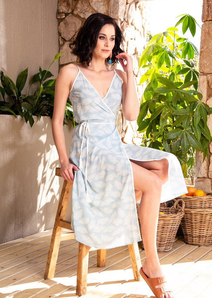 CRAVE Sara Dress in the Blue Palms print - Envy