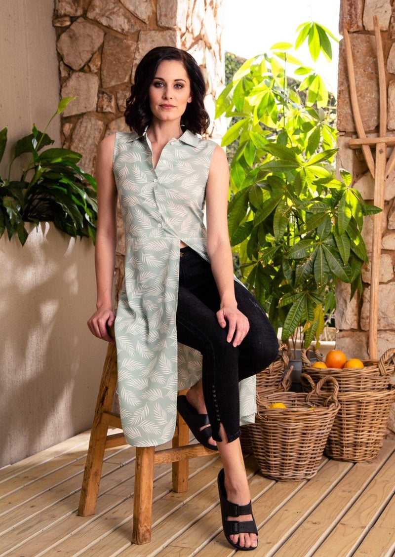 CRAVE Gia Shirt in the Green Palms print - Envy - online clothing