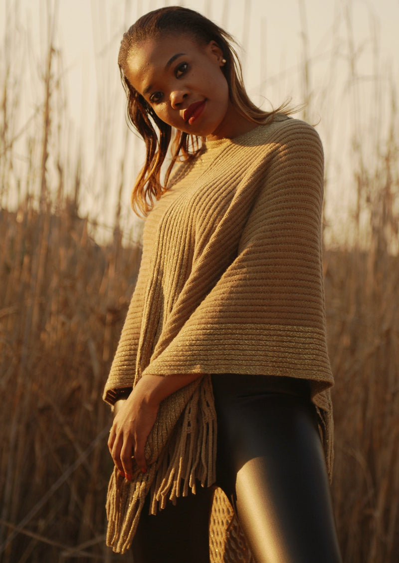 Audrey Beige + Gold Band Poncho - Envy - online clothing