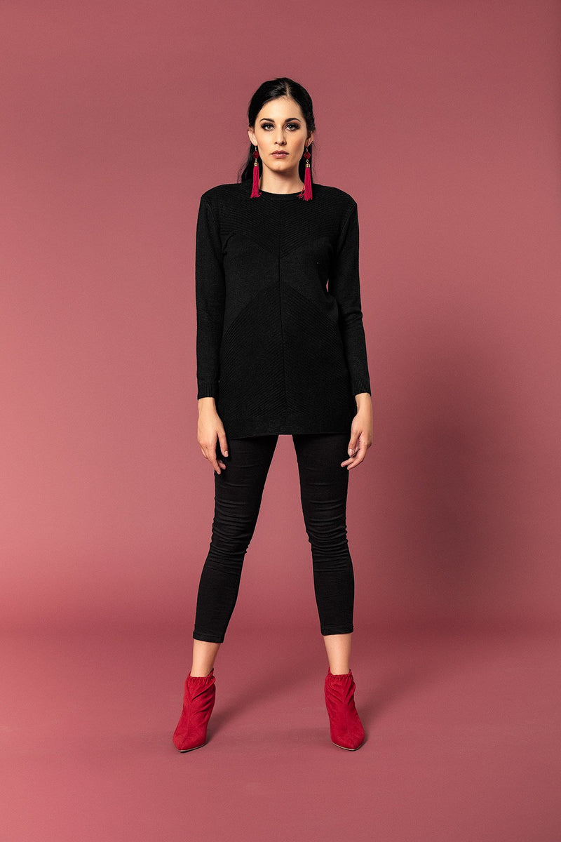 ROUND NECK KNIT WITH EMBOSSED PATTERN - Envy online clothing store south africa
