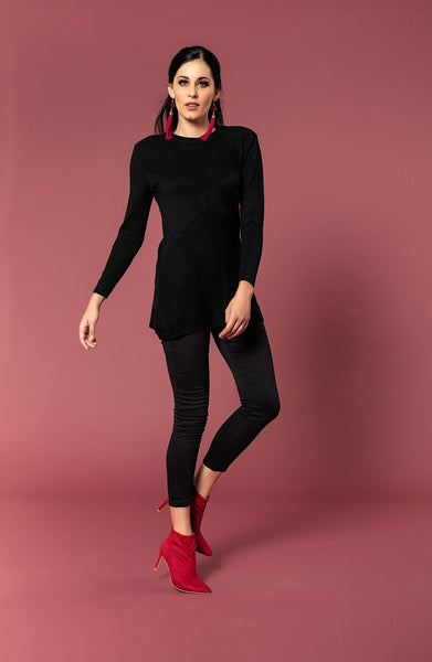 ROUND NECK KNIT WITH EMBOSSED PATTERN - Envy