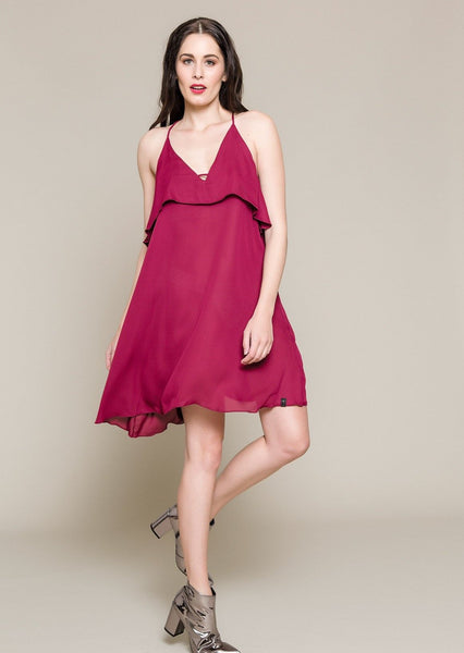 SLEEVELESS CHIFFON COCKTAIL DRESS