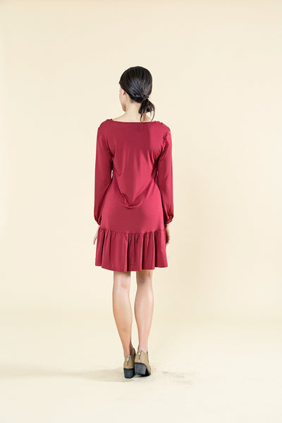 CROSS OVER DRESS WITH BELL SLEEVES - Envy