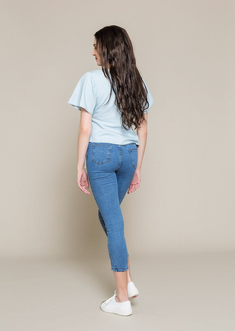 Denim Wrap Top With Embroidery - Envy - online clothing