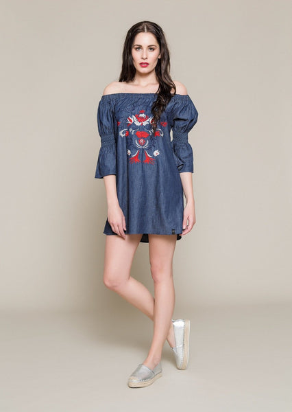 OFF THE SHOULDER EMBROIDERED DENIM TUNIC - Envy