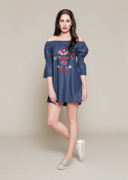 OFF THE SHOULDER EMBROIDERED TUNIC - S18104