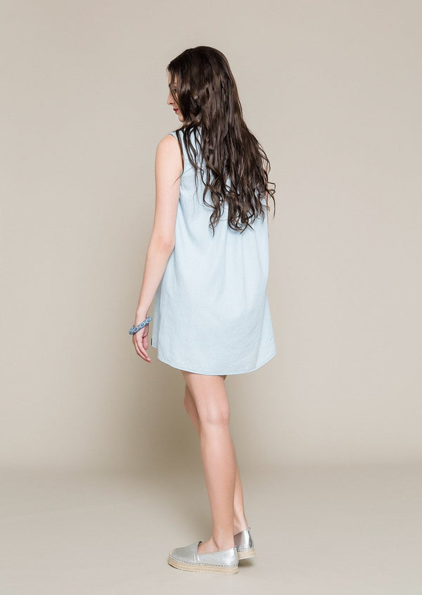 Sleeveless Denim Dress With Embroidery - Envy online clothing store south africa