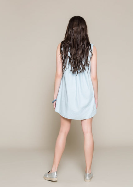 SLEEVELESS DENIM DRESS WITH EMBROIDERY
