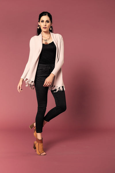 SOFT KNIT CARDI WITH TASSLED HEMLINE - Envy