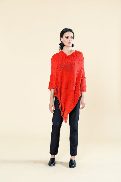 TEXTURED PONCHO WITH FRINGE DETAIL - Envy