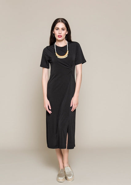 SHORT SLEEVE DRESS WITH KNOT IN WAIST - S18026