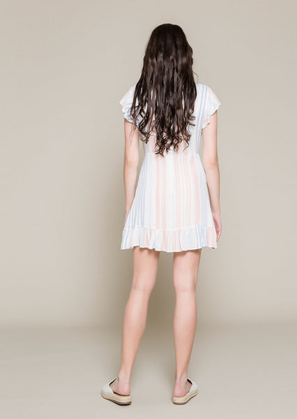 FRILLED FOLDOVER DRESS WITH OPEN BACK