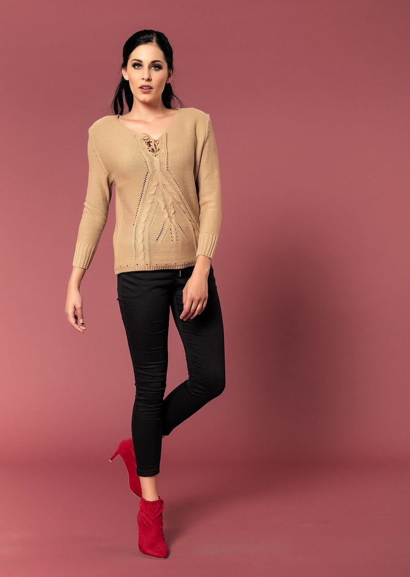 TEXTURED V-NECK KNIT TOP - Envy online clothing store south africa