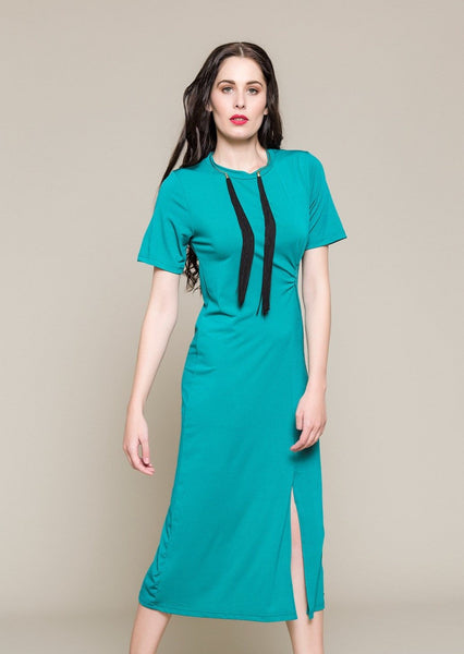 SHORT SLEEVE DRESS WITH KNOT IN WAIST - Envy