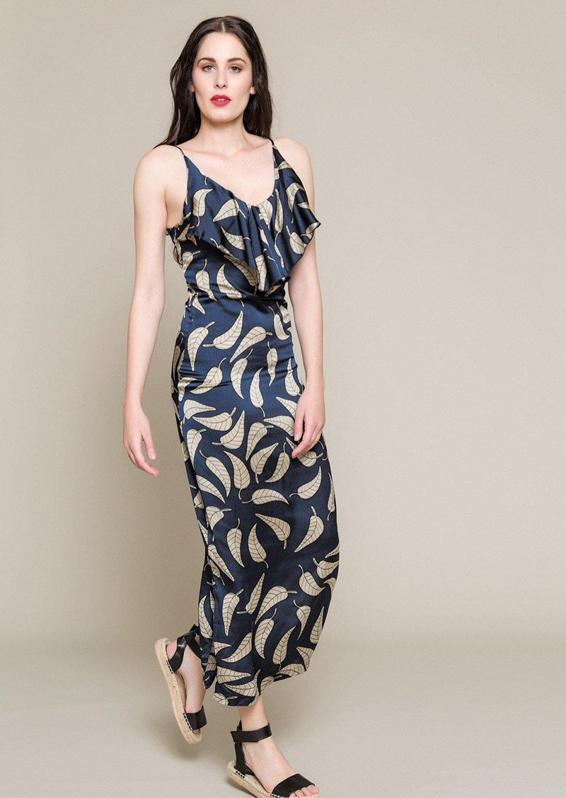 Maxi Satin Dress With Frill Neckline - Envy online clothing store south africa