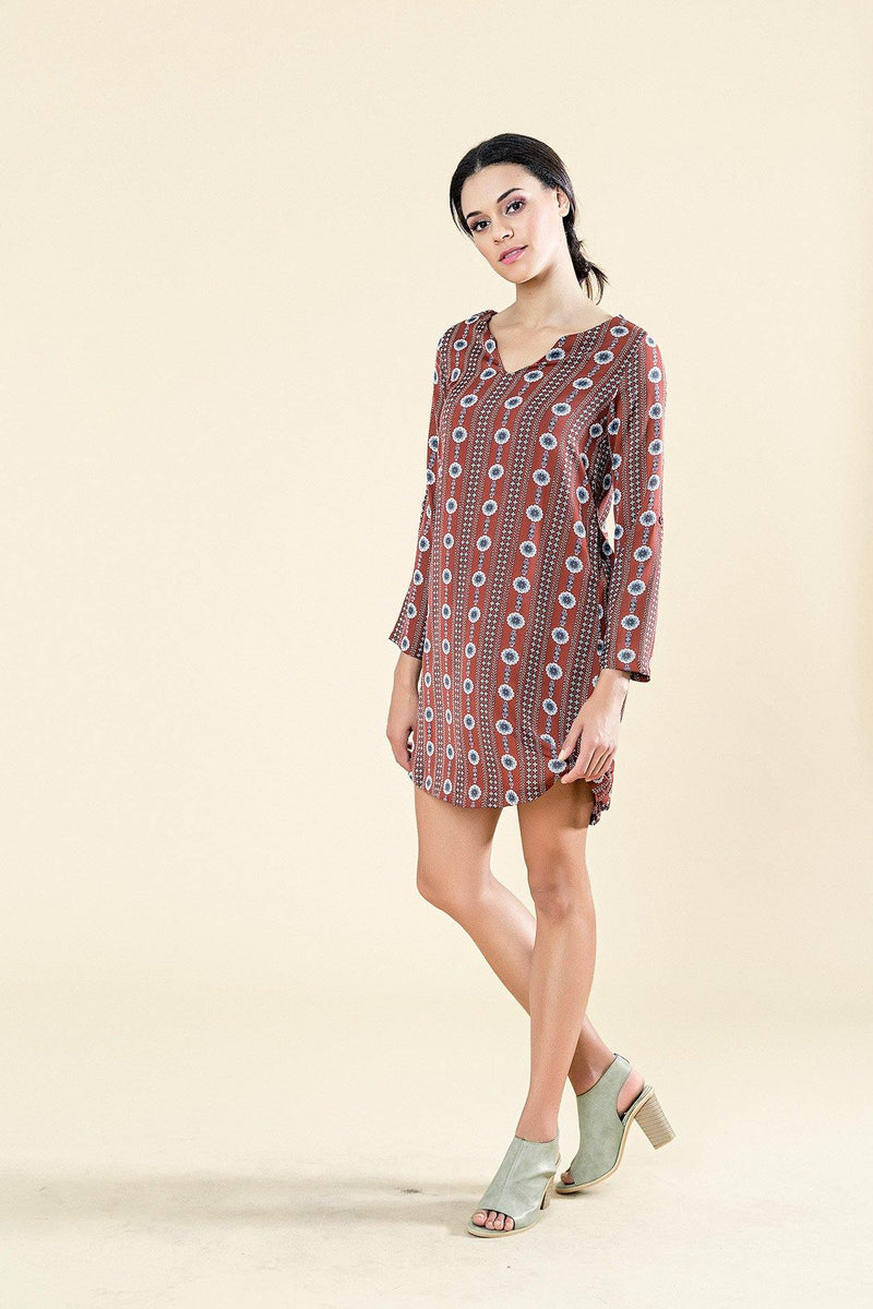 LONG SLEEVE PRINTED 60'S SHIFT DRESS - Envy online clothing store south africa