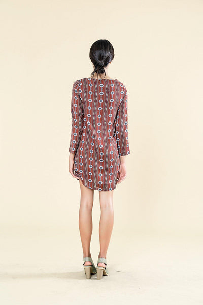 LONG SLEEVE PRINTED 60'S SHIFT RED DRESS - Envy